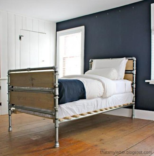 plumbing pipe and wood slats bed