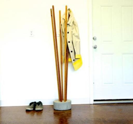 DIY Industrial Concrete And Broomstick Coat Tree