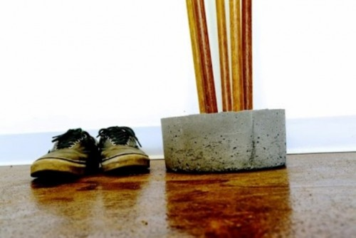 Diy Industrial Concrete And Broomstick Coat Tree