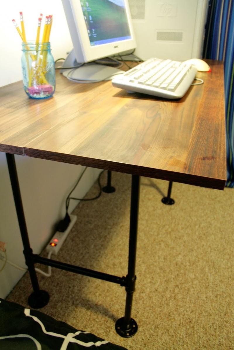 simple industrial pipe desk