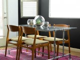 industrial dining table with a glass top