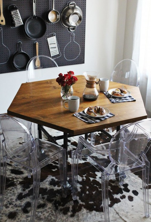 honey comb dining table with pipe legs