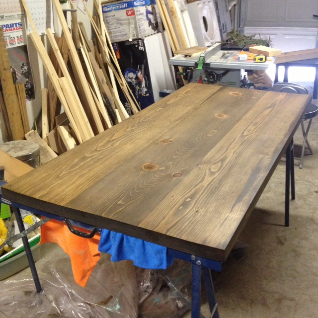 pipe and wood dining table