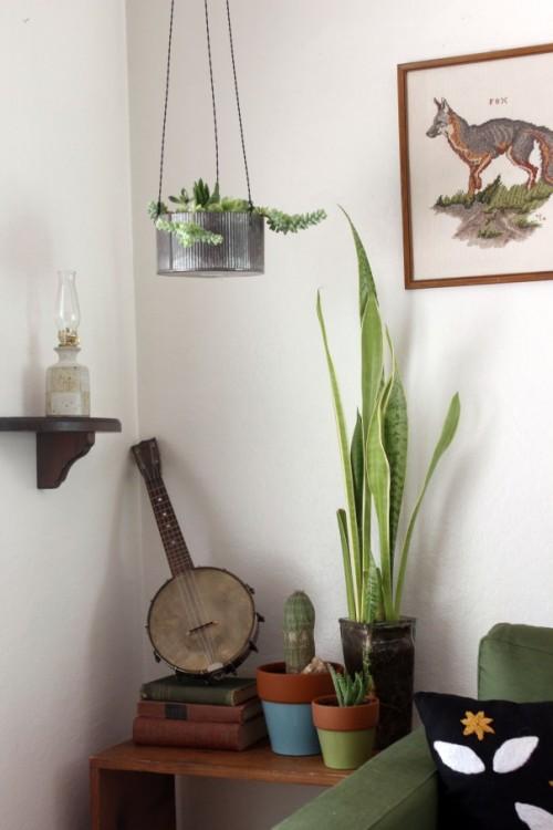 DIY Industrial Hanging Planter Of MetalShelterness
