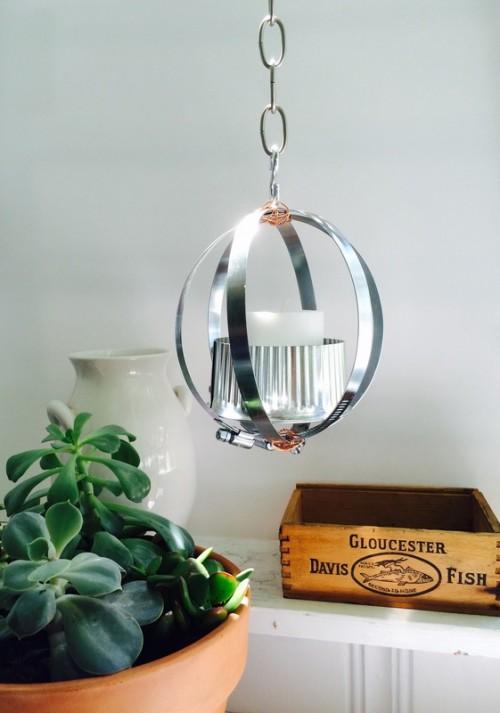 DIY Industrial Lantern From Metal Clamps