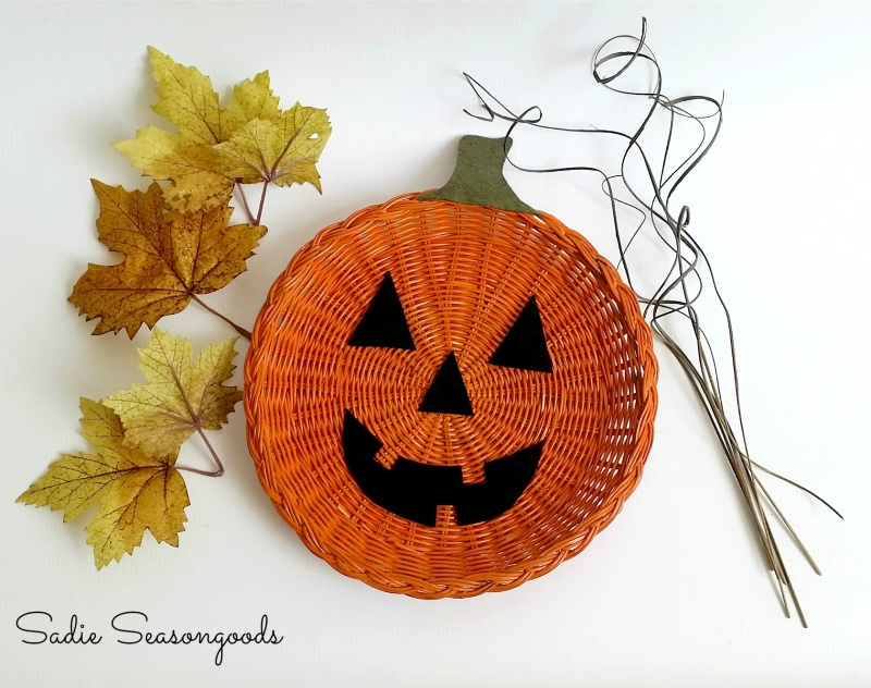 Picture Of diy jack o lantern decor from a plate holder  4