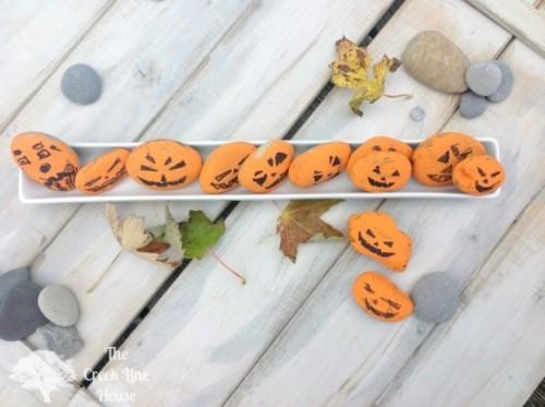 Diy Jack O Lantern Rocks For Halloween