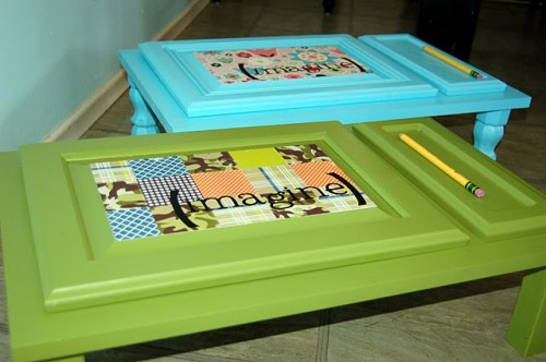 DIY Children's Art Desk From A Cupboard Door