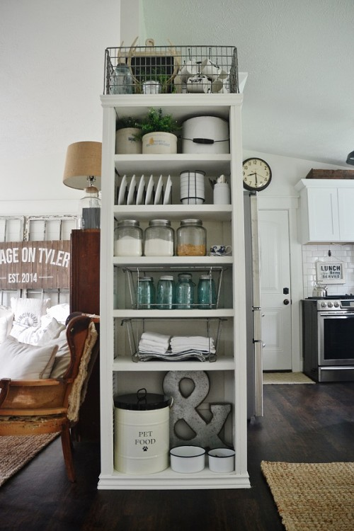 DIY Kitchen Bookshelf With Shutter Doors