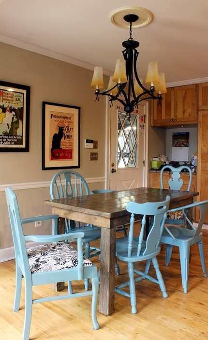 diy kitchen chairs painting and reupholstering - shelterness