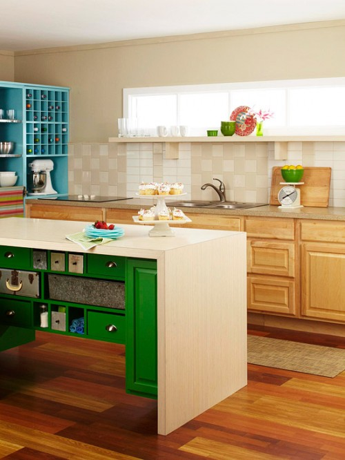 DIY Colorful Kitchen Island Of Old Doors