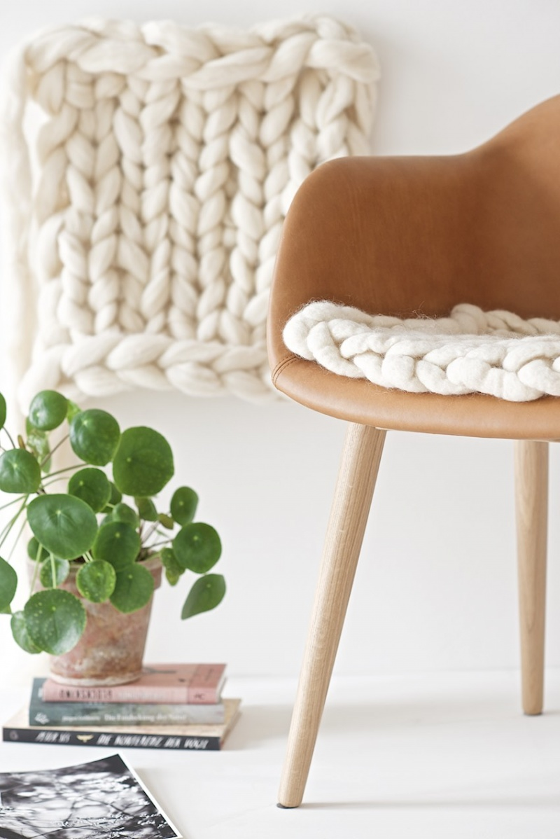 DIY Knit And Felt Seat Pad From Unspun Wool