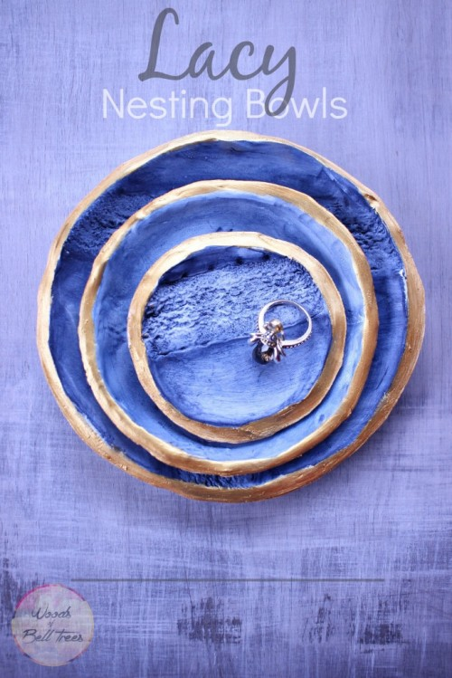 DIY Lacy Nesting Bowls In Navy Color