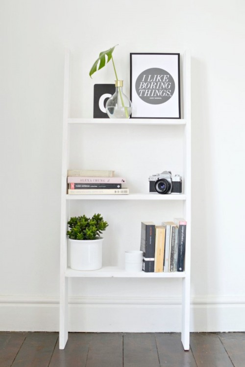 DIY Ladder Shelf Perfect For Small Spaces