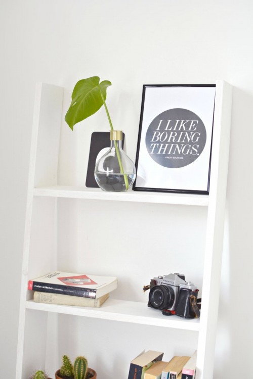 DIY Ladder Shelf Perfect For Small Spaces - Shelterness
