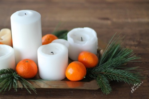 DIY Last Minute Candle Centerpiece For Christmas