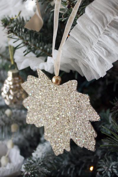 DIY Leaf Glitter Ornaments