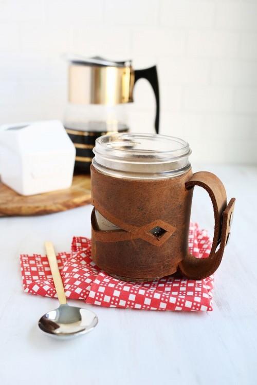 DIY Leather Mason Jar Sleeve