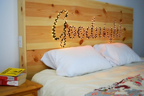 DIY Light Up 'Good Night' Headboard