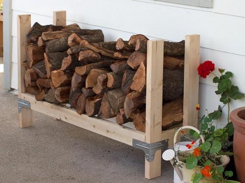 wood and metal log holder