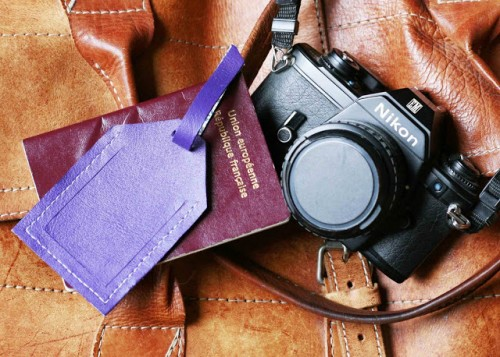 colorful leather luggage tag