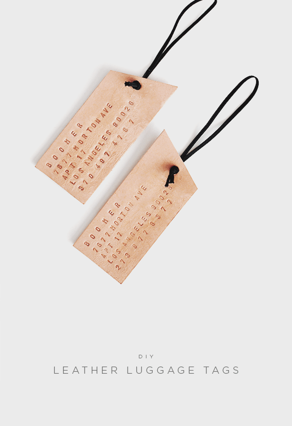 neutral leather luggage tags