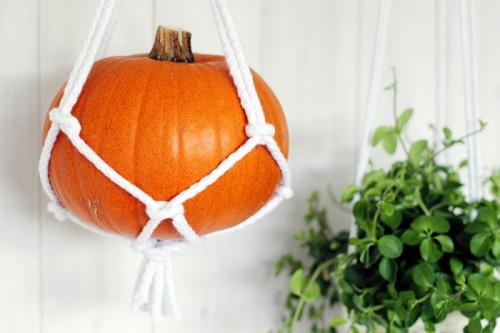 Rustic Fall: DIY Macrame Hanging Pumpkins