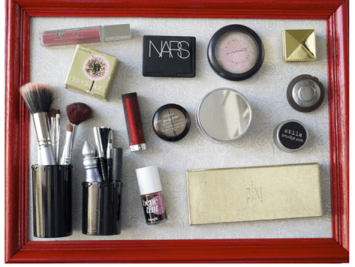 DIY Magnetic Makeup Wall Storage