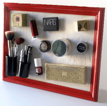 DIY Magnetic Makeup Wall Storage