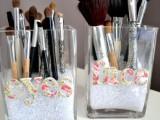 makeup brush storage of glass jars