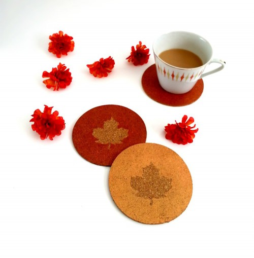 DIY Maple Leaf Cork Coasters