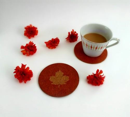 DIY Maple Leaf Cork Coasters