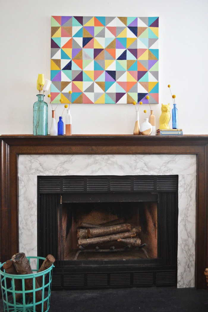 Picture Of diy marble fireplace makeover with contact paper  2