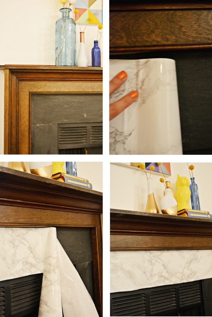 Picture Of diy marble fireplace makeover with contact paper  4