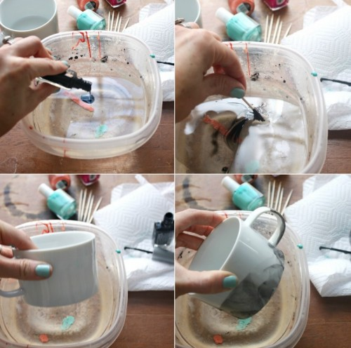 Trendy DIY Marble Mugs With Nail Polish