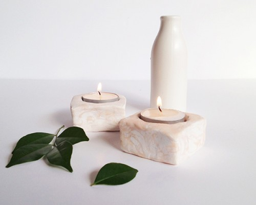 Diy Marbled Tealight Candleholders