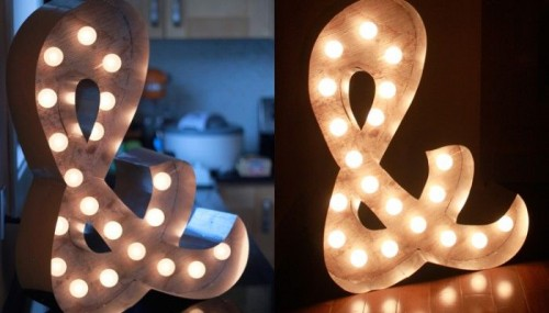 Easy DIY Marquee Ampersand Lights