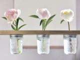 mason jar flower shelf