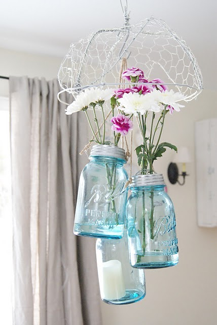 Picture of mason jar hanging vases for Room decor ideas with mason jars
