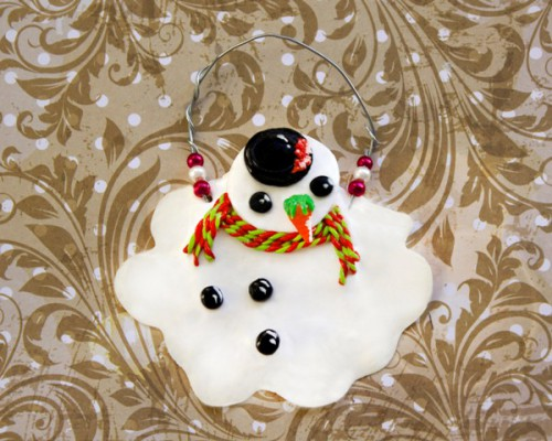 DIY Melting Snowman Hanging Ornament