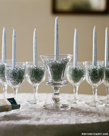 Menorah of Glasses and Beads (via marthastewart)
