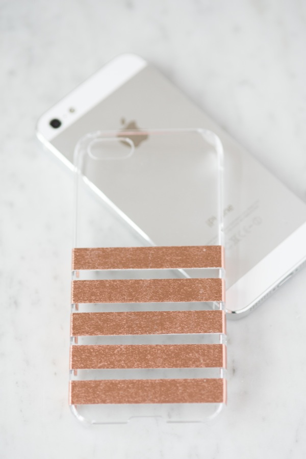 Trendy DIY Metallic Foil Striped Phone Case
