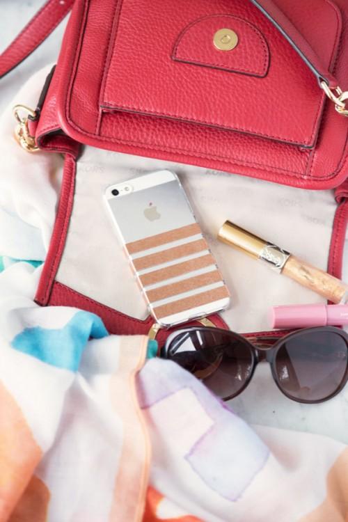 Trendy DIY Metallic Foil Striped Phone Case