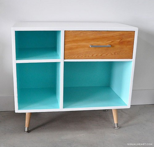 diy mid century modern inspired drawer shelterness. Black Bedroom Furniture Sets. Home Design Ideas