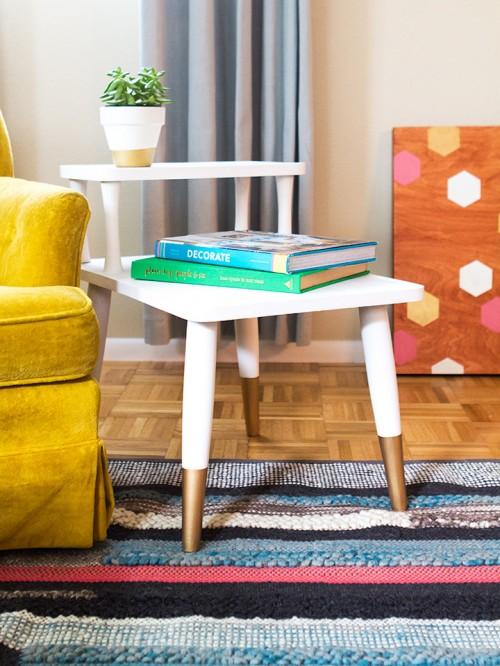 diy mid century modern side table shelterness. Black Bedroom Furniture Sets. Home Design Ideas
