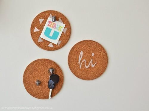 DIY Mini Pinboards Of Cork Pot Stands
