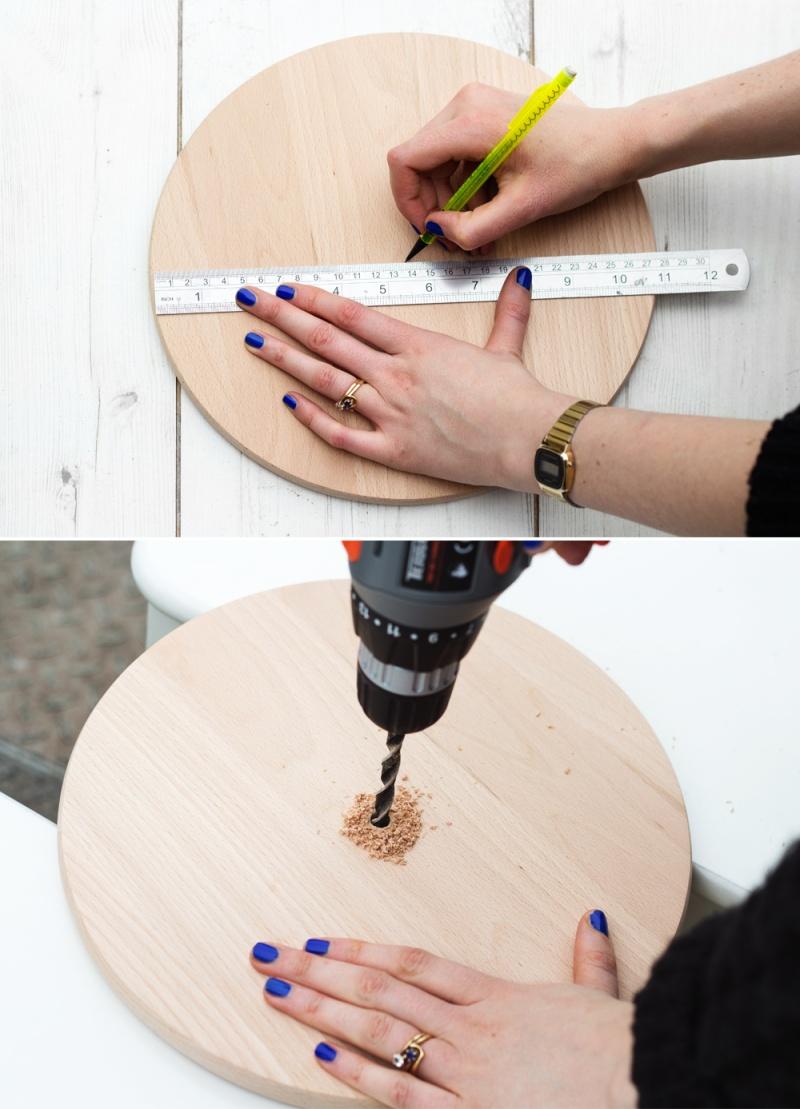 Picture Of diy minimalist wall clock ofoa chopping board  2