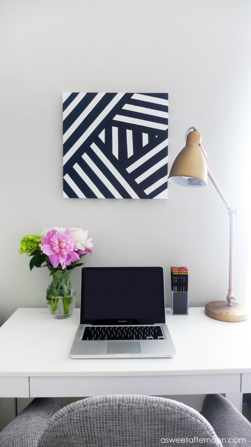 Picture Of diy modern black andwhite abstract art  1