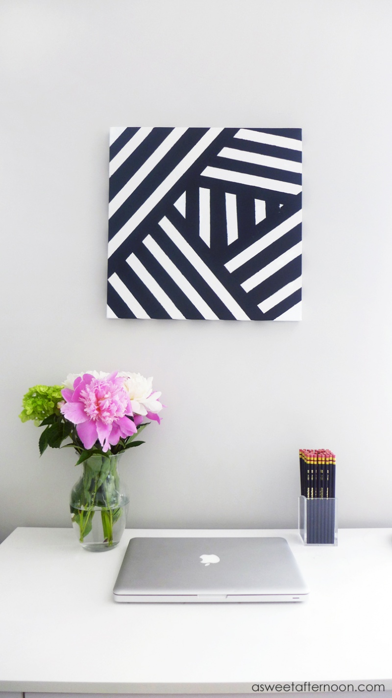 Picture Of diy modern black andwhite abstract art  7