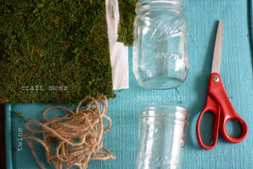 Diy Moss And Twine Wrapped Jars